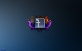Facebook fire glass sparks flares rendering wallpaper