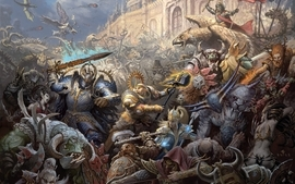 Fantasy mage war castles warhammer chaos elves dwarfs battles wallpaper