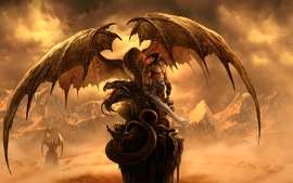 Fantasy skulls wings dragons helmet weapons artwork warriors wallpaper