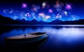 Fireworks ships vehicles lakes photomanipulations wallpaper