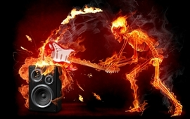 Flames music fire speakers skeletons guitars sparks rendered wallpaper