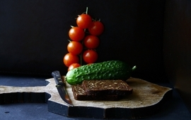 Food bread tomatoes pickles wallpaper