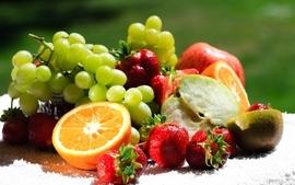 Fruits food kiwi oranges grapes strawberries apples wallpaper
