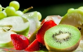 Fruits kiwi strawberries apples wallpaper