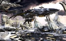 Futuristic spaceships digital art artwork vehicles 3d modeling wallpaper
