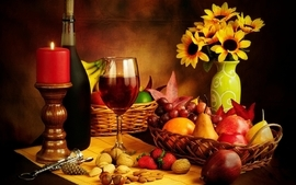 Glass wine nuts strawberries candles red wine wallpaper