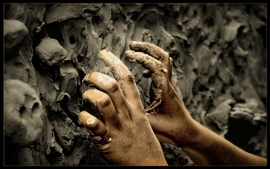 Gray hands mud crawl mold wallpaper