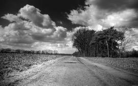 Grayscale roads wallpaper