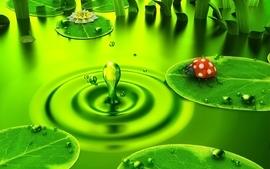 Green 3d view deviantart digital art water drops ladybirds wallpaper