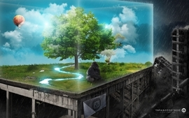 Green clouds nature trees cityscapes artistic animals design wallpaper