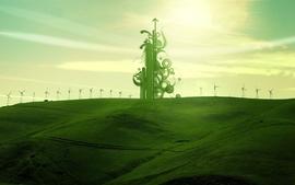 Green design fields shapes wallpaper