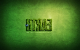 Green minimalistic text grass earth typography wallpaper
