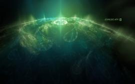 Green planets clocks wallpaper