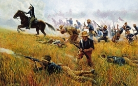 Guns cowboys horses battles wallpaper