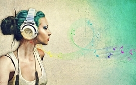 Headphones deviantart blue hair wallpaper