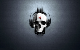 Headphones skulls music artwork wallpaper