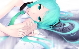 Headphones trees vocaloid hatsune miku tears tie long hair wallpaper