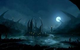 Landscapes castles fantasy art nighttime water body wallpaper