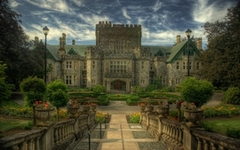 Landscapes castles garden mansion wallpaper