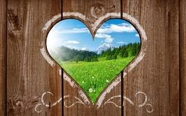 Landscapes hearts wood texture wallpaper