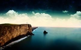 Landscapes nature shore lighthouses photomanipulations wallpaper