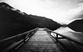 Landscapes pier monochrome wallpaper