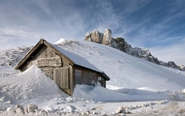 Landscapes snow houses wallpaper