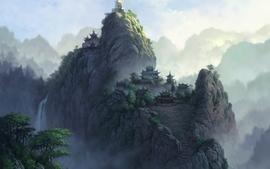 Landscapes temples asia artwork wallpaper