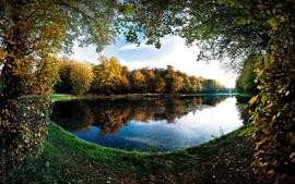 Landscapes trees autumn leaves pond frames lakes wallpaper