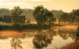 Landscapes trees houses mist flat morning rivers wallpaper