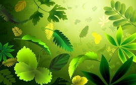 Leaves digital art wallpaper
