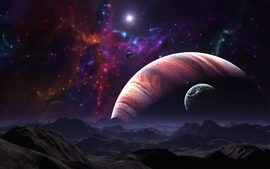 Light abstract outer space planets fantasy art moons wallpaper