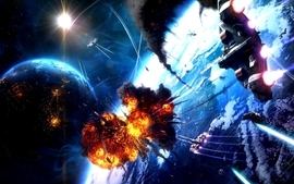 Light outer space futuristic explosions planets spaceships wallpaper