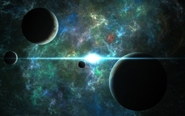 Light outer space stars planets 2 wallpaper