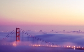 Lights fog bridges golden gate bridge san francisco cities wallpaper
