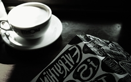 Milk cups books grayscale everything is illuminated wallpaper