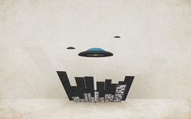 Minimalistic cityscapes spaceships vehicles flying saucer alien wallpaper