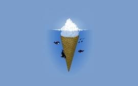 Minimalistic ice cream digital art whale wallpaper