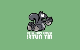 Minimalistic text humor quotes squirrels nuts green background wallpaper