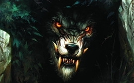 Monsters fantasy art red eyes wolves wallpaper
