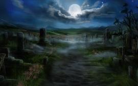 Moon digital art graves nighttime cemetery wallpaper