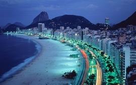 Mountains beach night lights brazil copacabana wallpaper
