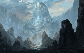 Mountains castles fantasy art artwork drawings rivers wallpaper