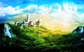 Mountains castles forest wallpaper