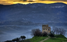 Mountains castles old houses wallpaper