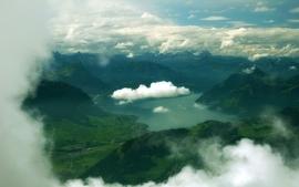 Mountains clouds landscapes lakes wallpaper