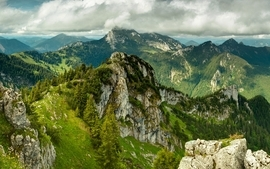 Mountains clouds landscapes nature forest wallpaper