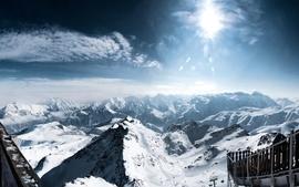 Mountains clouds landscapes snow sun interfacelift alps wallpaper