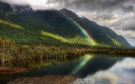 Mountains clouds nature forest rainbows wallpaper