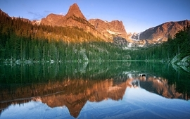 Mountains landscapes nature forest lakes reflections wallpaper